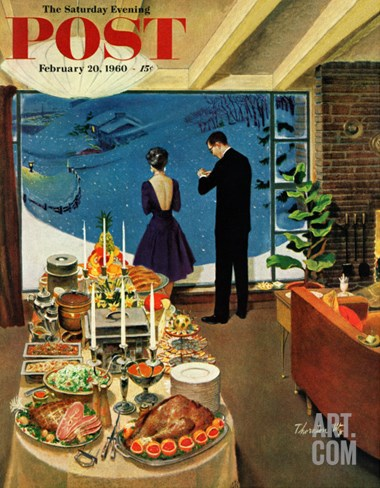 """Snow Buffet Party,"" Saturday Evening Post Cover, February 20, 1960 Stretched Canvas Print"