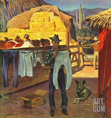"""Cowboy Hanging Out His Laundry,"" March 1, 1947 Stretched Canvas Print"