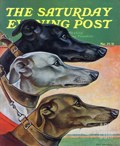 """Greyhounds,"" Saturday Evening Post Cover, March 29, 1941 Stretched Canvas Print"