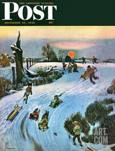 """Sledding by Sunset,"" Saturday Evening Post Cover, December 18, 1948 Stretched Canvas Print"