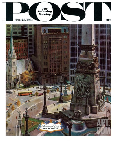 """Monument Circle,"" Saturday Evening Post Cover, October 28, 1961 Stretched Canvas Print"