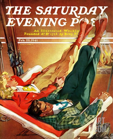 """Apres Ski,"" Saturday Evening Post Cover, February 22, 1941 Stretched Canvas Print"