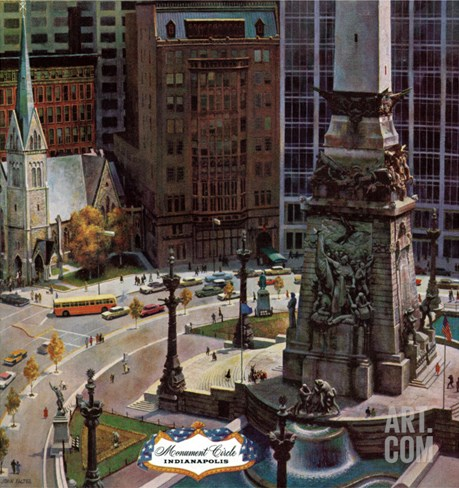 """Monument Circle,"" October 28, 1961 Stretched Canvas Print"