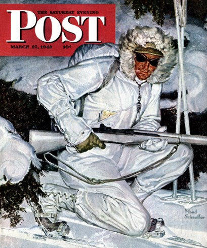 """Ski Patrol Soldier,"" Saturday Evening Post Cover, March 27, 1943 Stretched Canvas Print"
