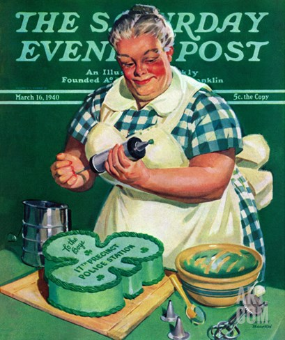 """St. Paddy Cake for Policemen,"" Saturday Evening Post Cover, March 16, 1940 Stretched Canvas Print"