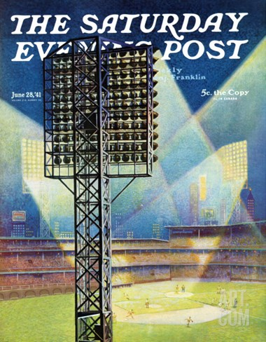 """Baseball Stadium at Night,"" Saturday Evening Post Cover, June 28, 1941 Stretched Canvas Print"