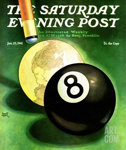 """World as Cue Ball,"" Saturday Evening Post Cover, January 25, 1941 Stretched Canvas Print"