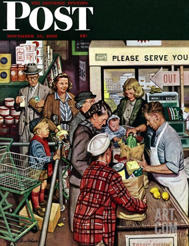 """Grocery LIne,"" Saturday Evening Post Cover, November 13, 1948 Stretched Canvas Print"
