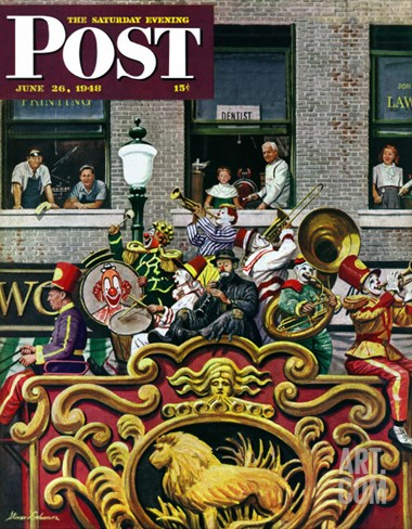 """Clown Band,"" Saturday Evening Post Cover, June 26, 1948 Stretched Canvas Print"