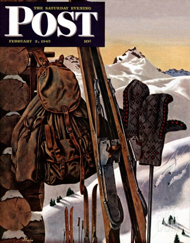 """Ski Equipment Still Life,"" Saturday Evening Post Cover, February 3, 1945 Stretched Canvas Print"