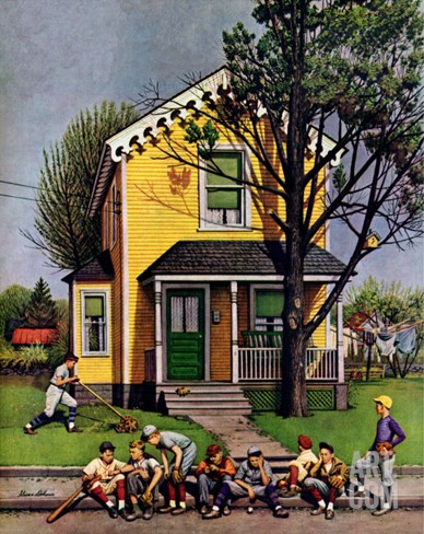 """Baseball Player Mowing the Lawn,"" July 20, 1946 Stretched Canvas Print"