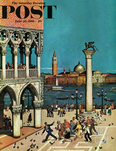 """American Tourists in Venice,"" Saturday Evening Post Cover, June 10, 1961 Stretched Canvas Print"