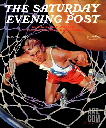 """Two Points,"" Saturday Evening Post Cover, January 24, 1942 Stretched Canvas Print"