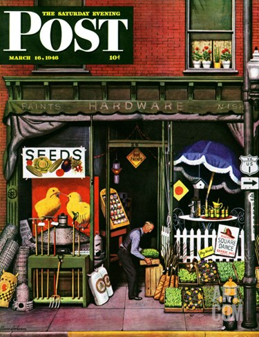 """Hardware Store at Springtime,"" Saturday Evening Post Cover, March 16, 1946 Stretched Canvas Print"