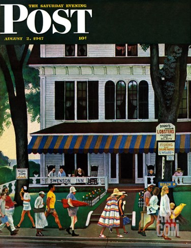 """Inn in Ogunquit,"" Saturday Evening Post Cover, August 2, 1947 Stretched Canvas Print"