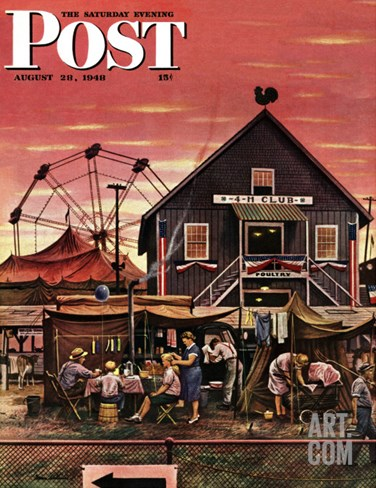 """Four-H Fair,"" Saturday Evening Post Cover, August 28, 1948 Stretched Canvas Print"