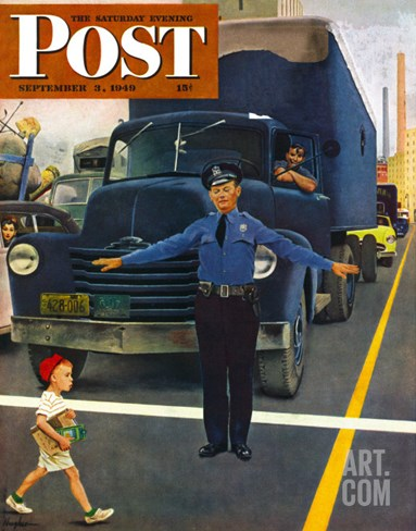 """Traffic Cop,"" Saturday Evening Post Cover, September 3, 1949 Stretched Canvas Print"