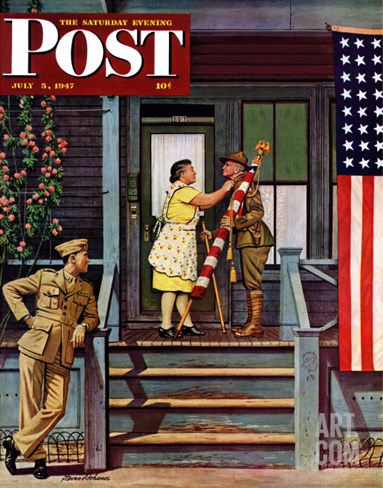 """Two Generations of Vets,"" Saturday Evening Post Cover, July 5, 1947 Stretched Canvas Print"