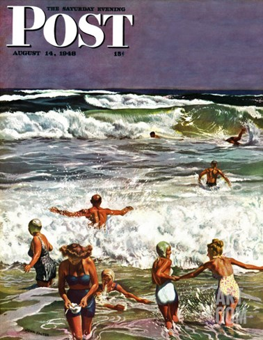 """Surf Swimming,"" Saturday Evening Post Cover, August 14, 1948 Stretched Canvas Print"