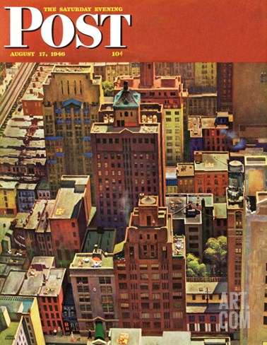 """Bird's-Eye View of New York City,"" Saturday Evening Post Cover, August 17, 1946 Stretched Canvas Print"