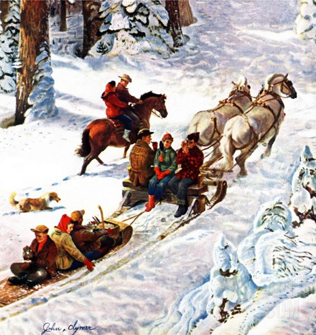 """Winter Sleigh Ride,"" December 17, 1949 Stretched Canvas Print"