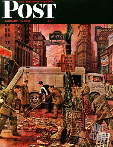 """Times Square Cleanup,"" Saturday Evening Post Cover, January 4, 1947 Stretched Canvas Print"