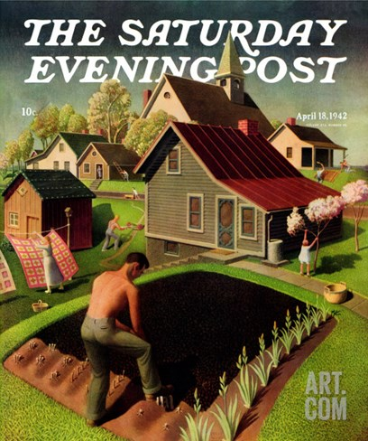 """Spring 1942,"" Saturday Evening Post Cover, April 18, 1942 Stretched Canvas Print"