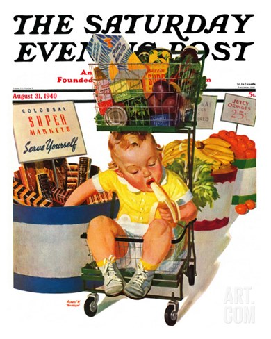 """Lunchtime at the Grocery,"" Saturday Evening Post Cover, August 31, 1940 Stretched Canvas Print"