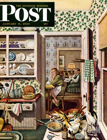 """After Dinner Dishes,"" Saturday Evening Post Cover, January 8, 1949 Stretched Canvas Print"
