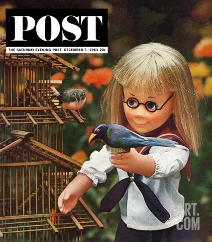 """New Toys 1963,"" Saturday Evening Post Cover, December 7, 1963 Stretched Canvas Print"