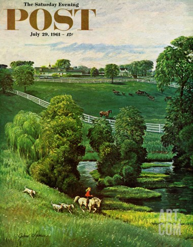 """Green Kentucky Pastures,"" Saturday Evening Post Cover, July 29, 1961 Stretched Canvas Print"