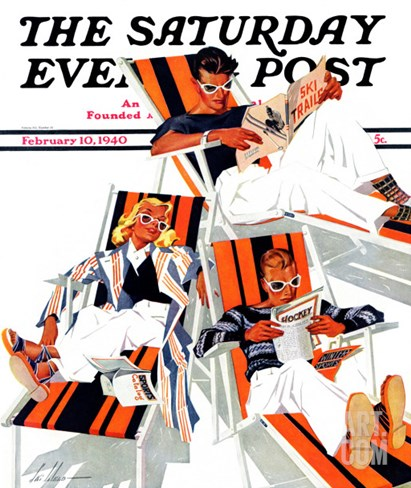 """""""Winter Vacation,"""" Saturday Evening Post Cover, February 10, 1940 Stretched Canvas Print"""