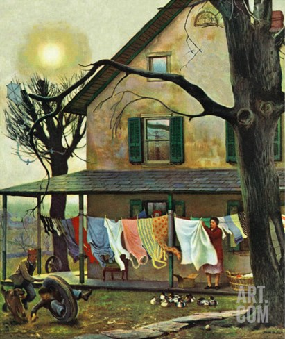 """Hanging Clothes Out to Dry,"" April 7, 1945 Stretched Canvas Print"