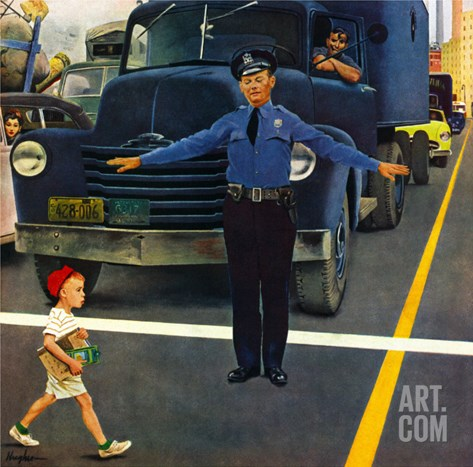 """Traffic Cop,"" September 3, 1949 Stretched Canvas Print"