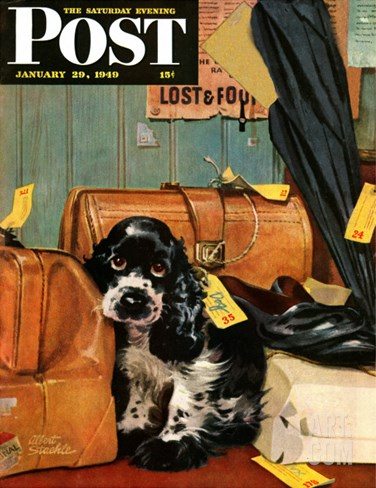"""Butch in Lost & Found,"" Saturday Evening Post Cover, January 29, 1949 Stretched Canvas Print"
