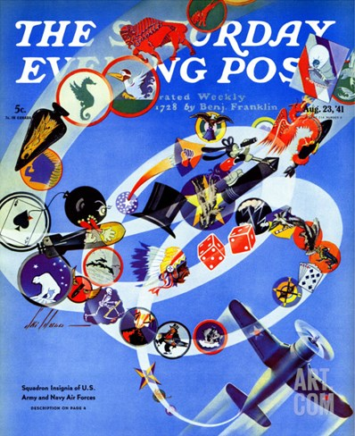 """Squadron Insignia,"" Saturday Evening Post Cover, August 23, 1941 Stretched Canvas Print"