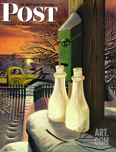 """Frozen Milk,"" Saturday Evening Post Cover, January 8, 1944 Stretched Canvas Print"