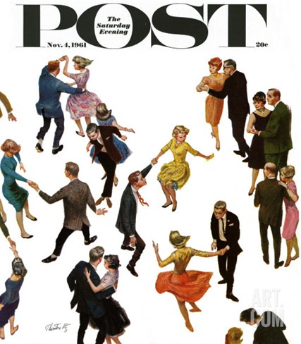 """Different Dancing Styles,"" Saturday Evening Post Cover, November 4, 1961 Stretched Canvas Print"