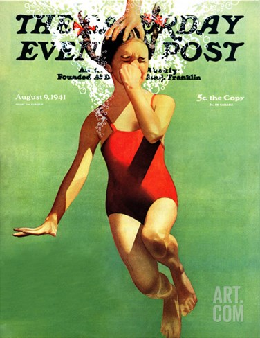 """Dunked Under Water,"" Saturday Evening Post Cover, August 9, 1941 Stretched Canvas Print"