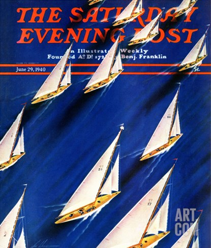 """Sailboat Regatta,"" Saturday Evening Post Cover, June 29, 1940 Stretched Canvas Print"