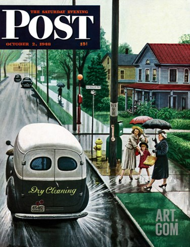 """Muddied by Dry Cleaning Truck,"" Saturday Evening Post Cover, October 2, 1948 Stretched Canvas Print"