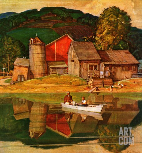 """Farm Pond Landscape,"" July 28, 1945 Stretched Canvas Print"