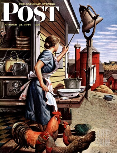 """Dinner Bell,"" Saturday Evening Post Cover, October 21, 1944 Stretched Canvas Print"