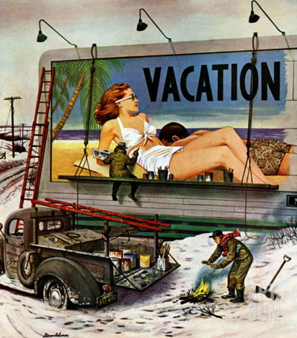 """Billboard Painters in Winter,"" February 14, 1948 Stretched Canvas Print"
