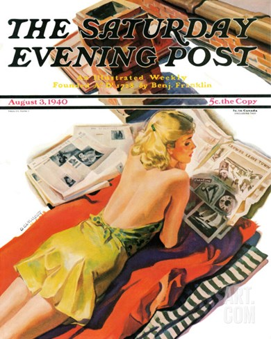 """Up on the Roof,"" Saturday Evening Post Cover, August 3, 1940 Stretched Canvas Print"