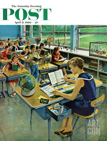 """""""Vacation Plans,"""" Saturday Evening Post Cover, April 9, 1960 Stretched Canvas Print"""