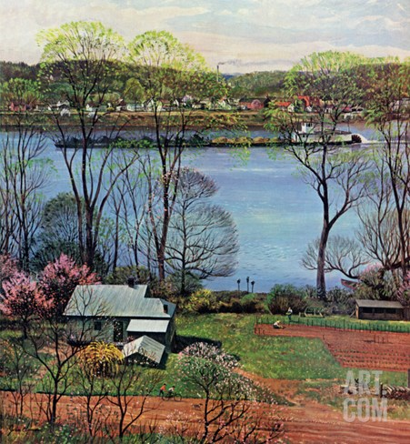"""Ohio River in April,"" April 15, 1961 Stretched Canvas Print"