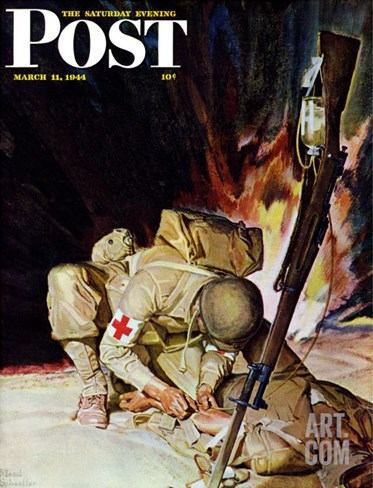 &quot;Medic Treating Injured in Field,&quot; Saturday Evening Post Cover, March 11, 1944 Stretched Canvas Print