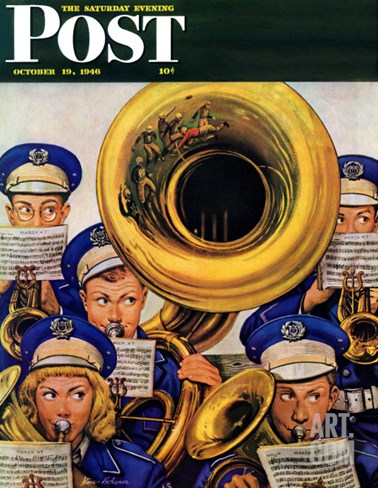 """March Band at Football Game,"" Saturday Evening Post Cover, October 19, 1946 Stretched Canvas Print"