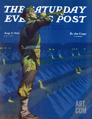 """Bootcamp Reveille,"" Saturday Evening Post Cover, August 2, 1941 Stretched Canvas Print"